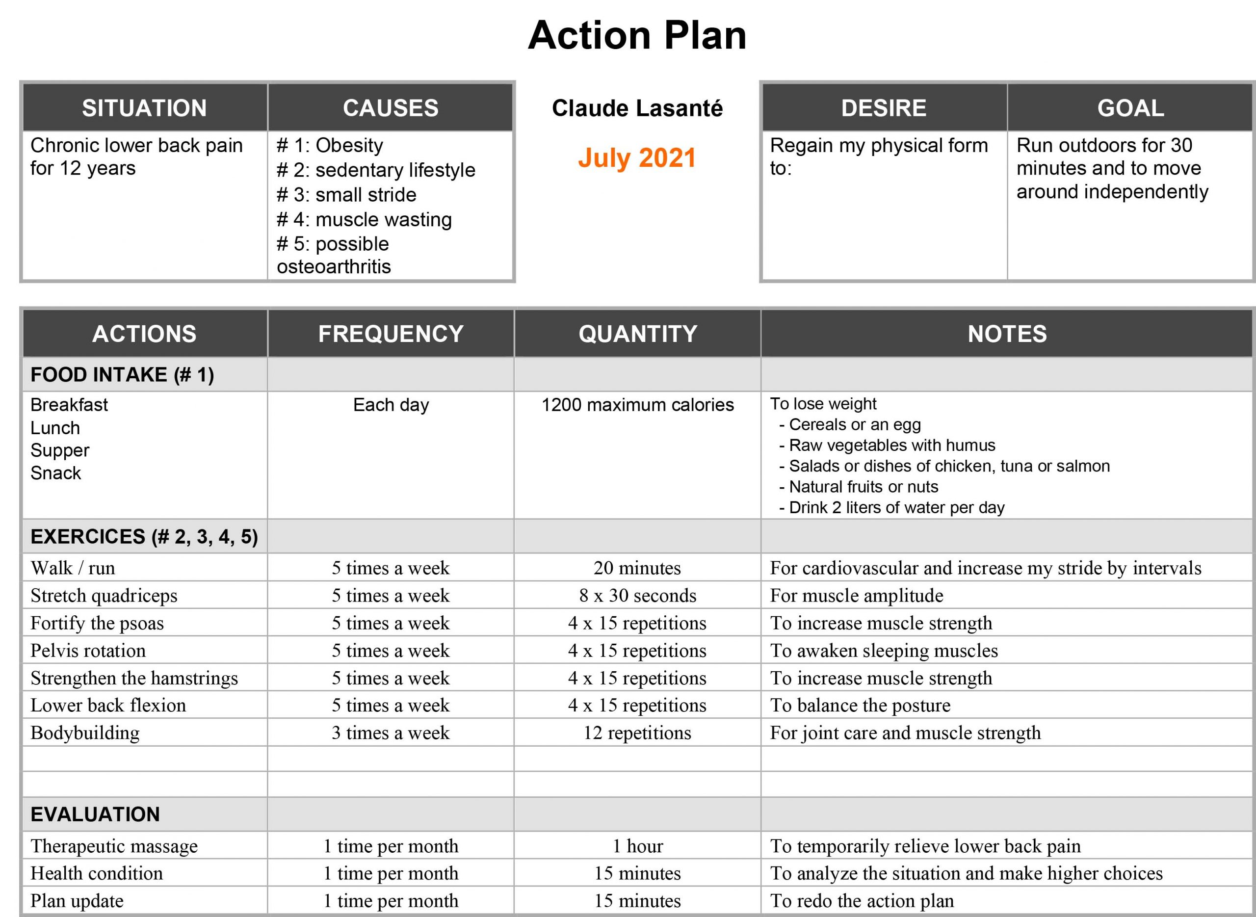 action plan lower back pain